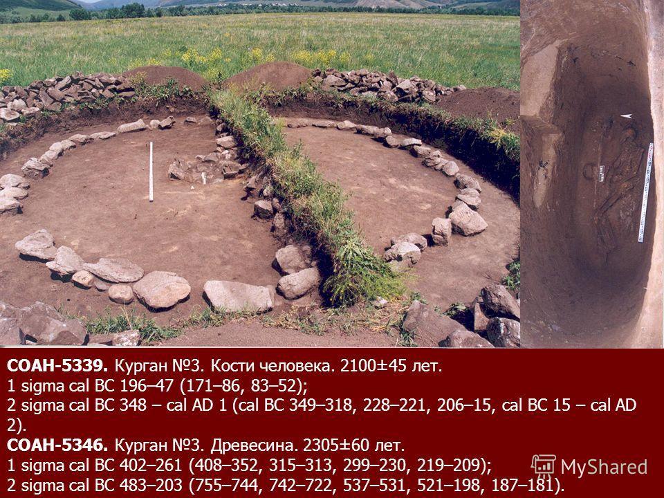 СОАН-5339. Курган 3. Кости человека. 2100±45 лет. 1 sigma cal BC 196–47 (171–86, 83–52); 2 sigma cal BC 348 – cal AD 1 (cal BC 349–318, 228–221, 206–15, cal BC 15 – cal AD 2). СОАН-5346. Курган 3. Древесина. 2305±60 лет. 1 sigma cal BC 402–261 (408–3