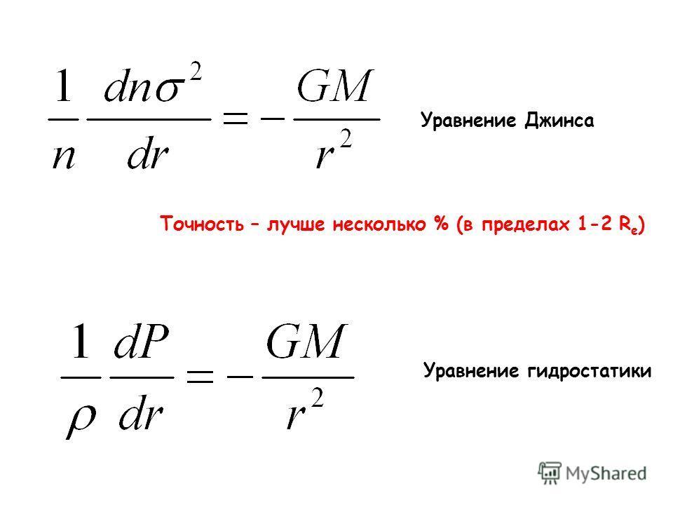 Уравнение Джинса Уравнение гидростатики Точность – лучше несколько % (в пределах 1-2 R e )