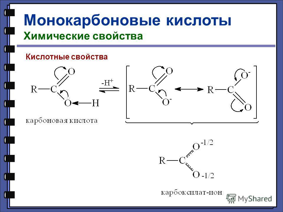 Монокарбоновые кислоты Химические свойства Кислотные свойства