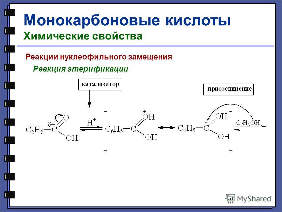 Монокарбоновые кислоты Химические свойства Реакции нуклеофильного замещения Реакция этерификации