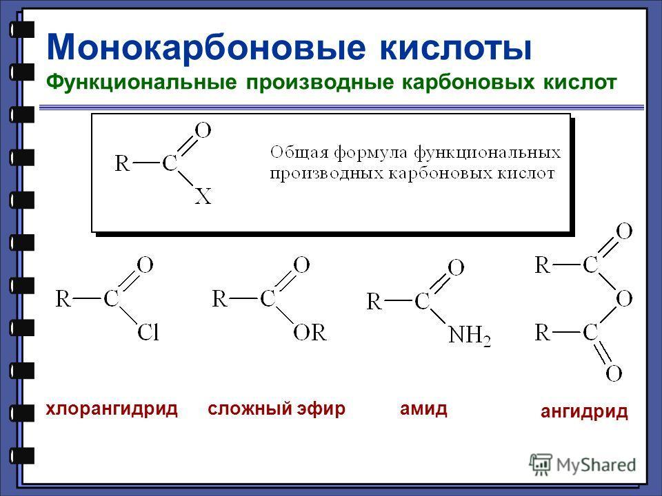 Монокарбоновые кислоты Функциональные производные карбоновых кислот хлорангидридсложный эфирамид ангидрид