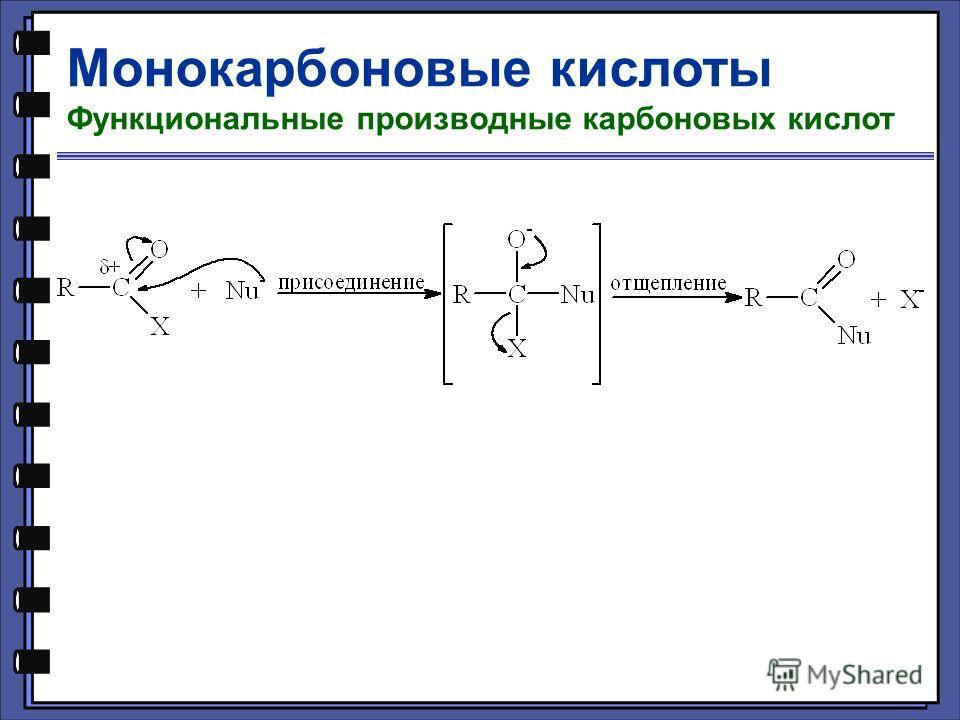 Монокарбоновые кислоты Функциональные производные карбоновых кислот