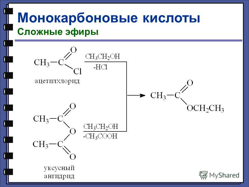 Монокарбоновые кислоты Сложные эфиры