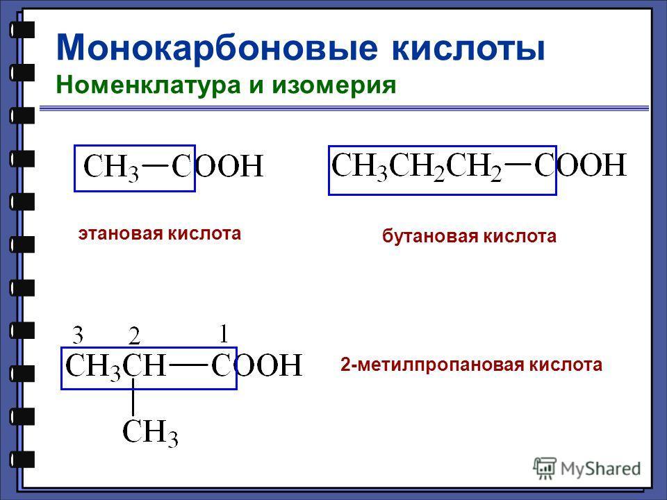 Монокарбоновые кислоты Номенклатура и изомерия этановая кислота бутановая кислота 2-метилпропановая кислота