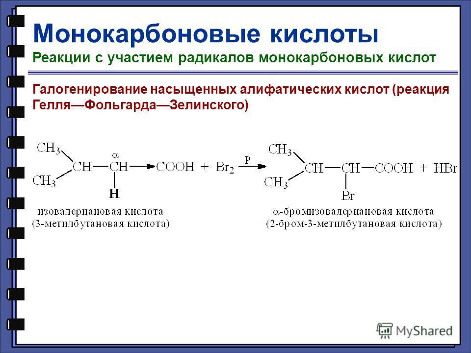 Монокарбоновые кислоты Реакции с участием радикалов монокарбоновых кислот Галогенирование насыщенных алифатических кислот (реакция ГелляФольгардаЗелинского)
