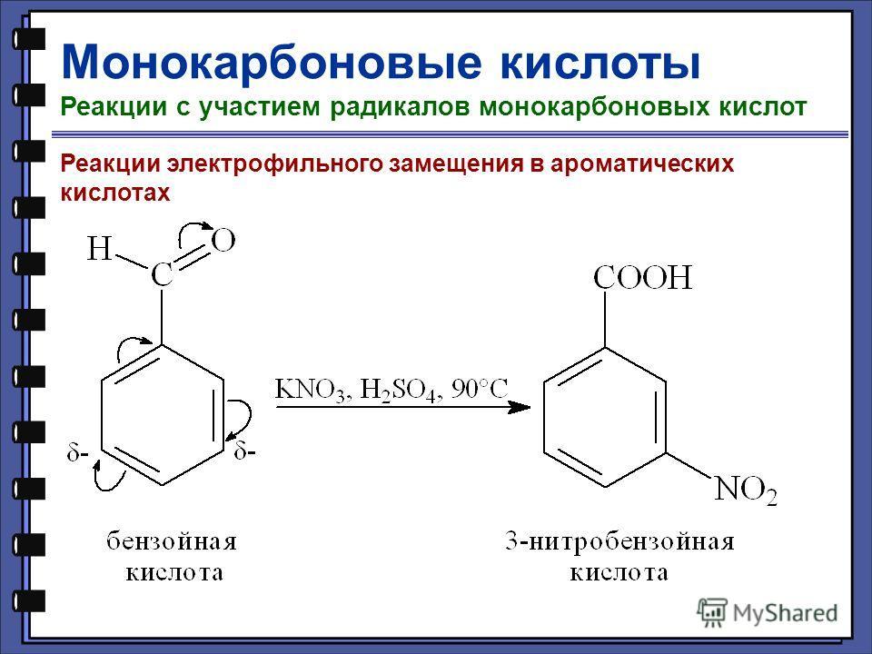 Монокарбоновые кислоты Реакции с участием радикалов монокарбоновых кислот Реакции электрофильного замещения в ароматических кислотах