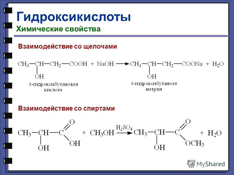 Гидроксикислоты Химические свойства Взаимодействие со щелочами Взаимодействие со спиртами