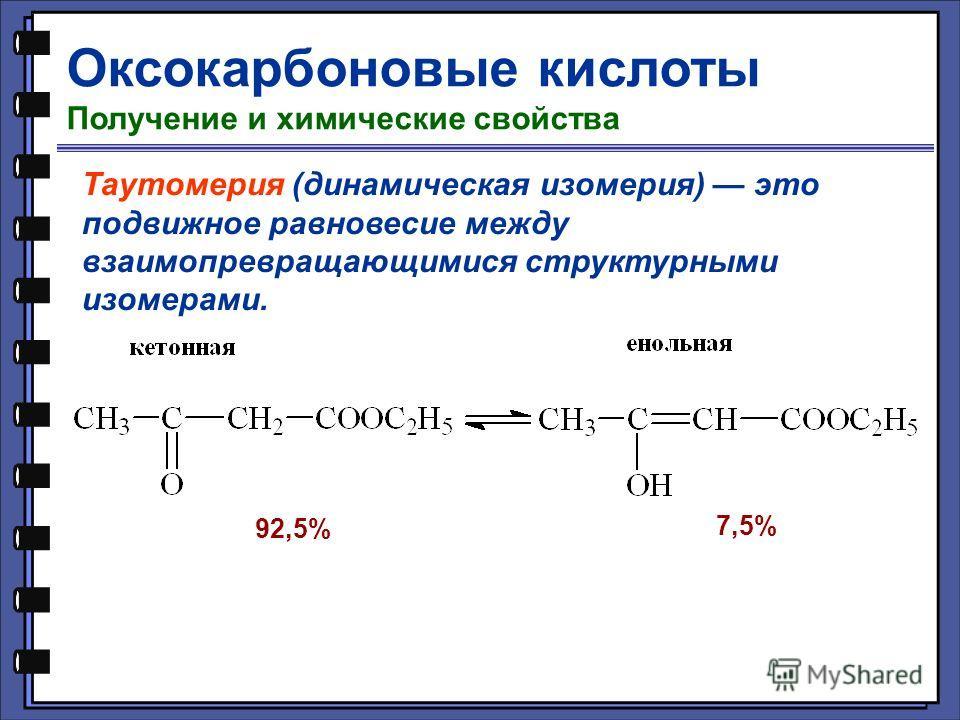 Оксокарбоновые кислоты Получение и химические свойства Таутомерия (динамическая изомерия) это подвижное равновесие между взаимопревращающимися структурными изомерами. 92,5% 7,5%