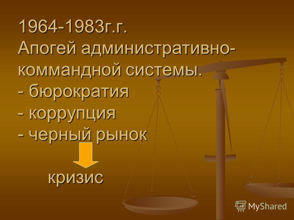 1964-1983г.г. Апогей административно- коммандной системы. - бюрократия - коррупция - черный рынок кризис