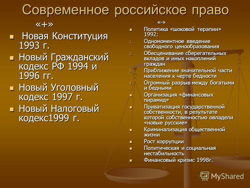 Современное российское право «+» «+» Новая Конституция 1993 г. Новая Конституция 1993 г. Новый Гражданский кодекс РФ 1994 и 1996 гг. Новый Гражданский кодекс РФ 1994 и 1996 гг. Новый Уголовный кодекс 1997 г. Новый Уголовный кодекс 1997 г. Новый Налог