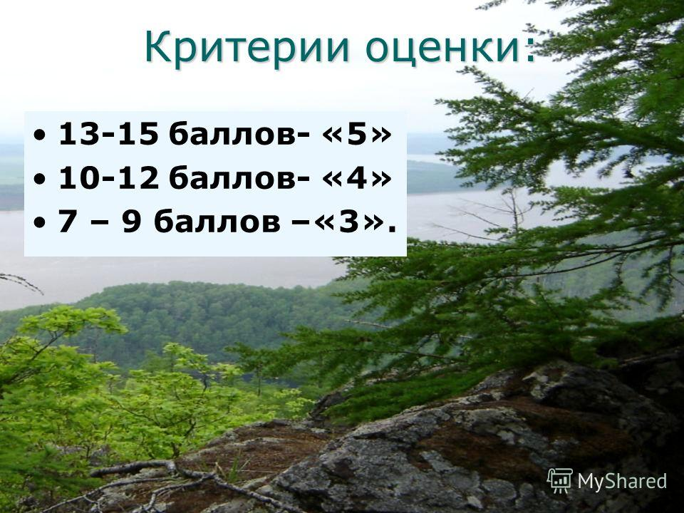 Критерии оценки: 13-15 баллов- «5» 10-12 баллов- «4» 7 – 9 баллов –«3».