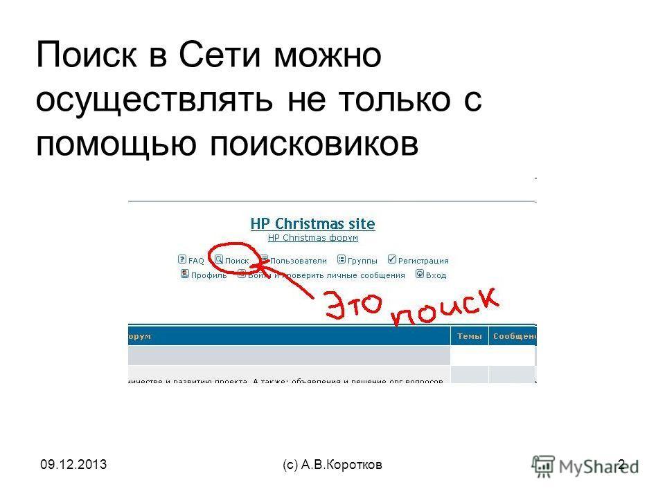 09.12.2013(c) А.В.Коротков2 Поиск в Сети можно осуществлять не только с помощью поисковиков