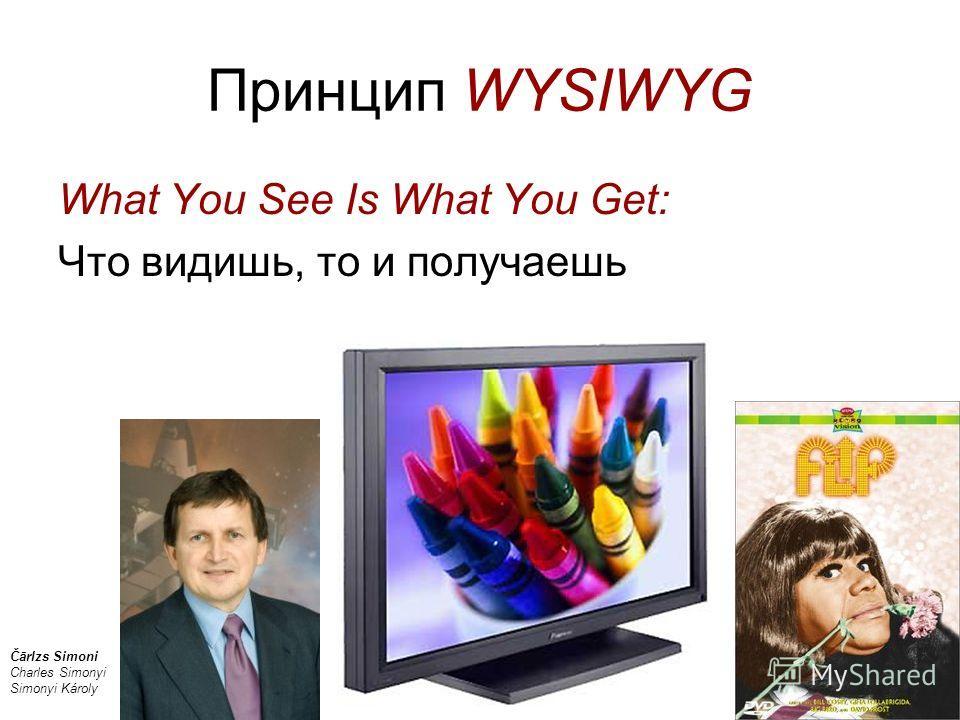 Принцип WYSIWYG What You See Is What You Get: Что видишь, то и получаешь Čārlzs Simoni Charles Simonyi Simonyi Károly