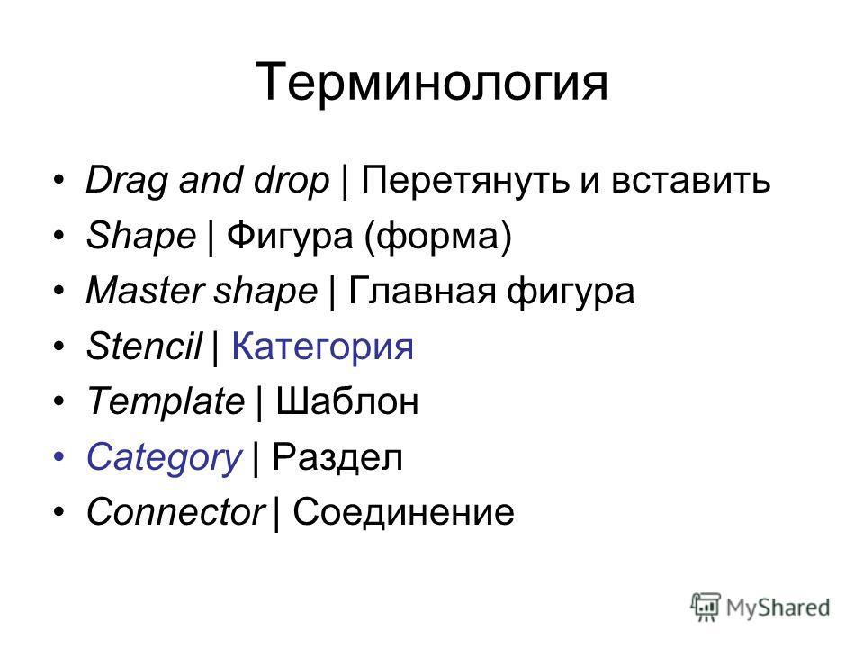 Терминология Drag and drop | Перетянуть и вставить Shape | Фигура (форма) Master shape | Главная фигура Stencil | Категория Template | Шаблон Categorу | Раздел Connector | Соединение