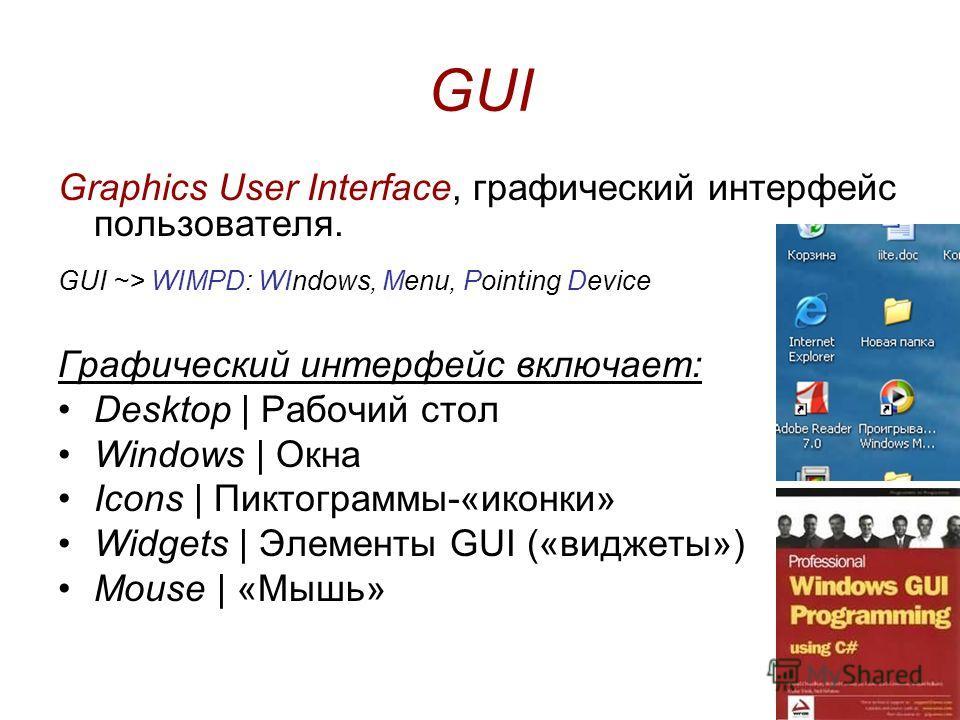 GUI Graphics User Interface, графический интерфейс пользователя. GUI ~> WIMPD: WIndows, Menu, Pointing Device Графический интерфейс включает: Desktop | Рабочий стол Windows | Окна Icons | Пиктограммы-«иконки» Widgets | Элементы GUI («виджеты») Mouse