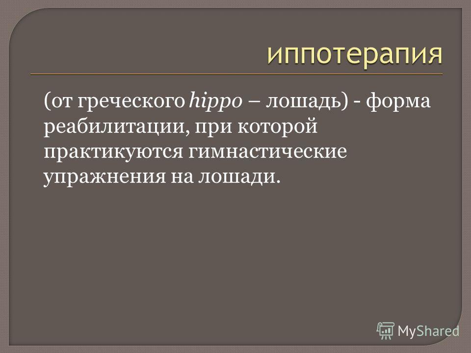 (от греческого hippo – лошадь) - форма реабилитации, при которой практикуются гимнастические упражнения на лошади.