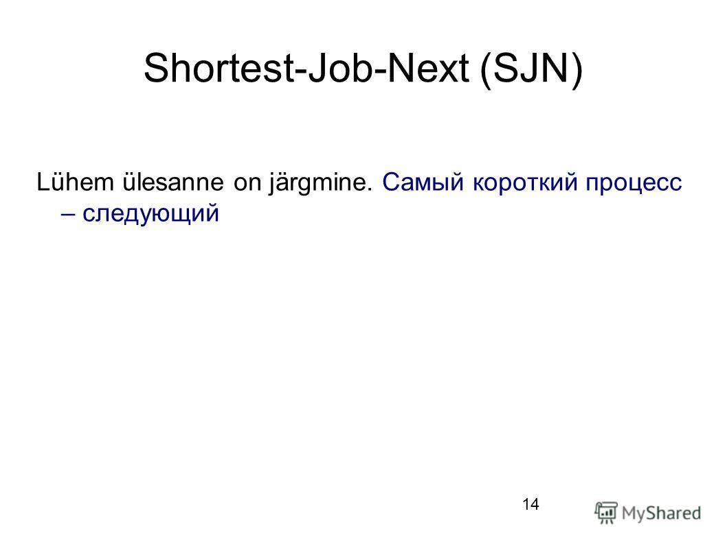 14 Shortest-Job-Next (SJN) Lühem ülesanne on järgmine. Самый короткий процесс – следующий