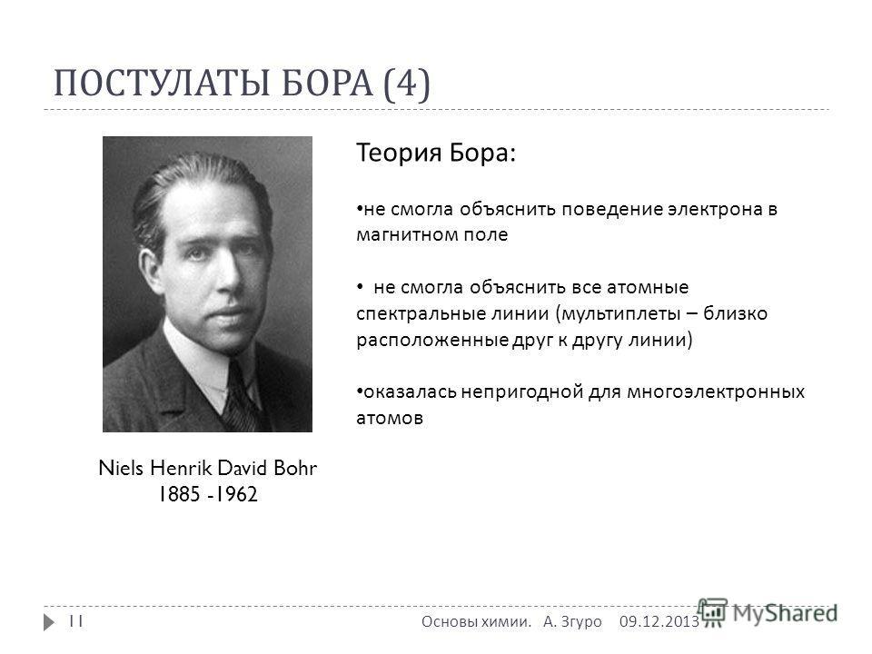 ПОСТУЛАТЫ БОРА (4) Niels Henrik David Bohr 1885 -1962 Теория Бора: не смогла объяснить поведение электрона в магнитном поле не смогла объяснить все атомные спектральные линии (мультиплеты – близко расположенные друг к другу линии) оказалась непригодн