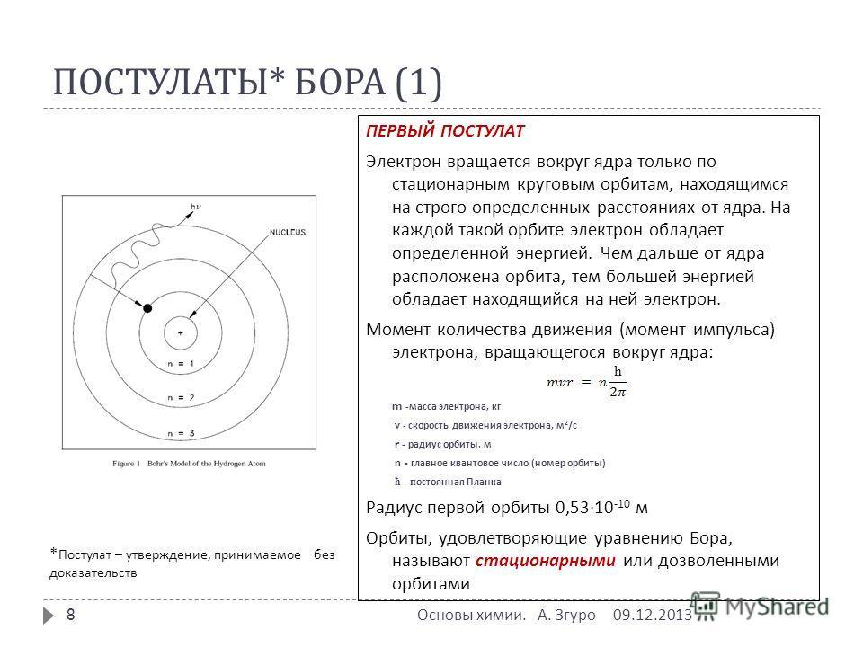 ПОСТУЛАТЫ * БОРА (1) ПЕРВЫЙ ПОСТУЛАТ Электрон вращается вокруг ядра только по стационарным круговым орбитам, находящимся на строго определенных расстояниях от ядра. На каждой такой орбите электрон обладает определенной энергией. Чем дальше от ядра ра