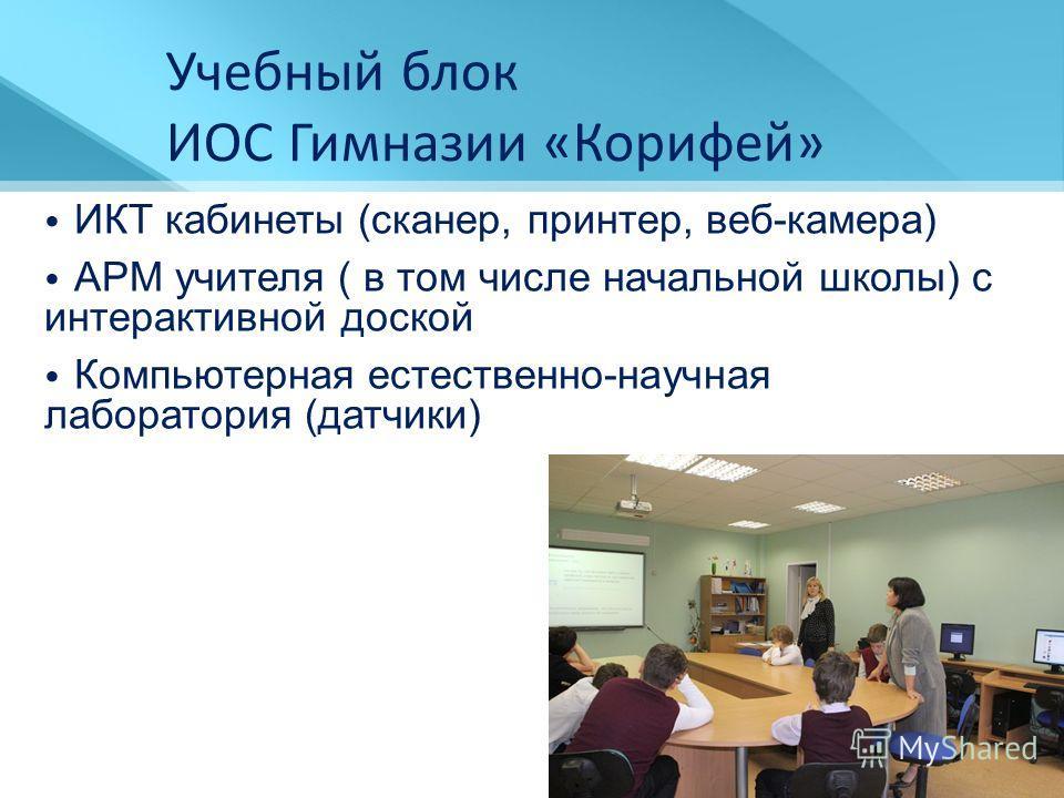 ИКТ кабинеты (сканер, принтер, веб-камера) АРМ учителя ( в том числе начальной школы) с интерактивной доской Компьютерная естественно-научная лаборатория (датчики) Учебный блок ИОС Гимназии «Корифей»