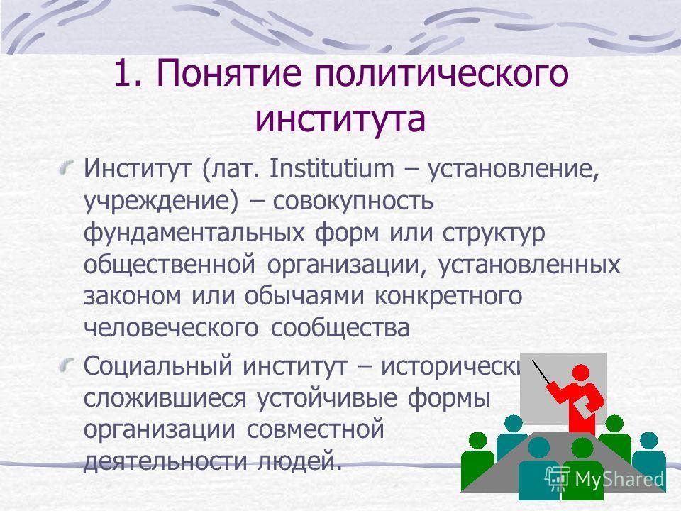 Структура презентации 1. Понятие политического института 2. Понятие агента (актора) политических отношений 3. Акторы политики: основные подходы. 4. Виды политических акторов