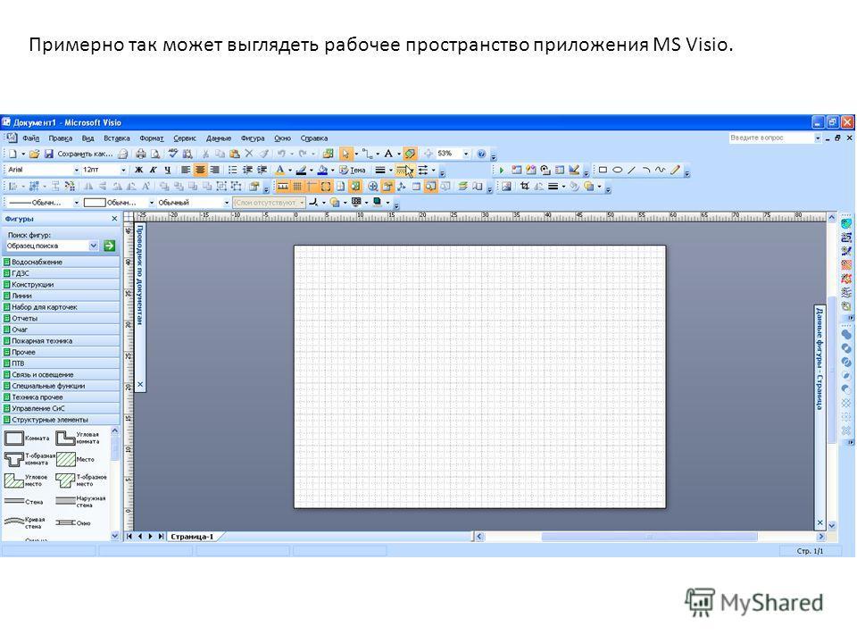 Примерно так может выглядеть рабочее пространство приложения MS Visio.