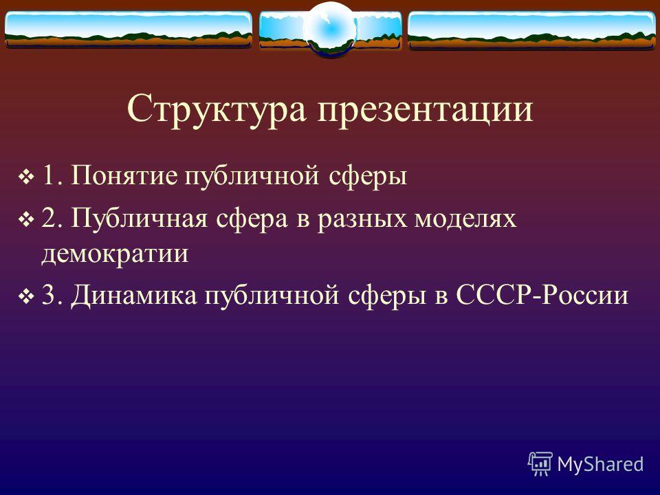 Структура презентации 1. Понятие публичной сферы 2. Публичная сфера в разных моделях демократии 3. Динамика публичной сферы в СССР-России