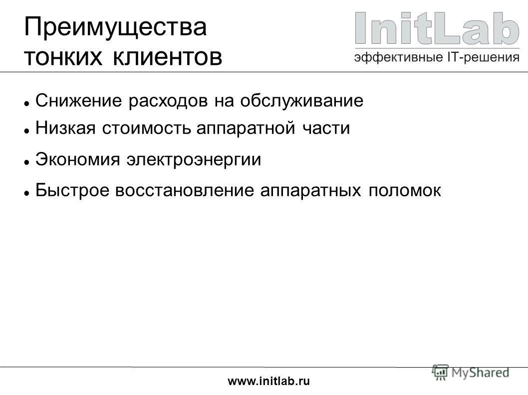 www.initlab.ru Преимущества тонких клиентов Снижение расходов на обслуживание Низкая стоимость аппаратной части Экономия электроэнергии Быстрое восстановление аппаратных поломок