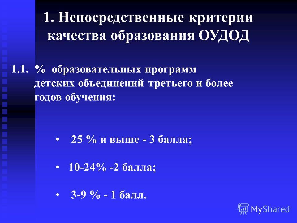 1.1. % образовательных программ детских объединений третьего и более годов обучения: 1. Непосредственные критерии качества образования ОУДОД 25 % и выше - 3 балла; 10-24% -2 балла; 3-9 % - 1 балл.