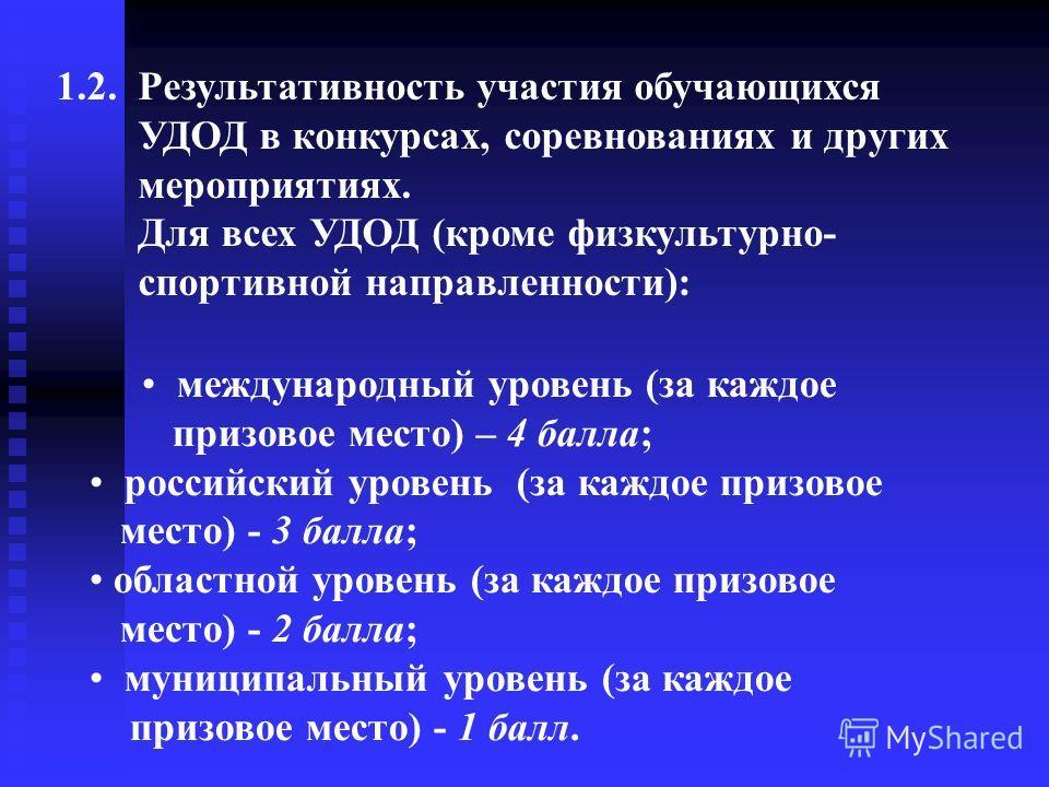 международный уровень (за каждое призовое место) – 4 балла; российский уровень (за каждое призовое место) - 3 балла; областной уровень (за каждое призовое место) - 2 балла; муниципальный уровень (за каждое призовое место) - 1 балл. 1.2. Результативно