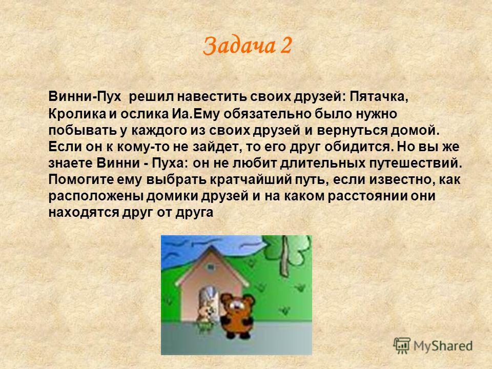 Задача 2 Винни-Пух решил навестить своих друзей: Пятачка, Кролика и ослика Иа.Ему обязательно было нужно побывать у каждого из своих друзей и вернуться домой. Если он к кому-то не зайдет, то его друг обидится. Но вы же знаете Винни - Пуха: он не люби