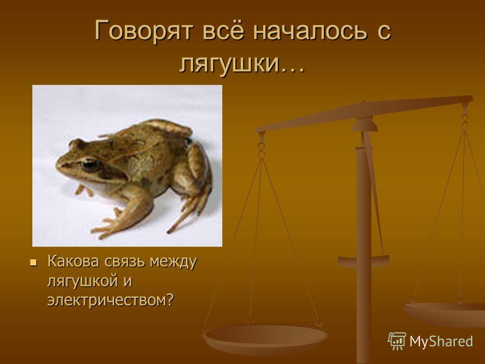 Говорят всё началось с лягушки… Какова связь между лягушкой и электричеством? Какова связь между лягушкой и электричеством?