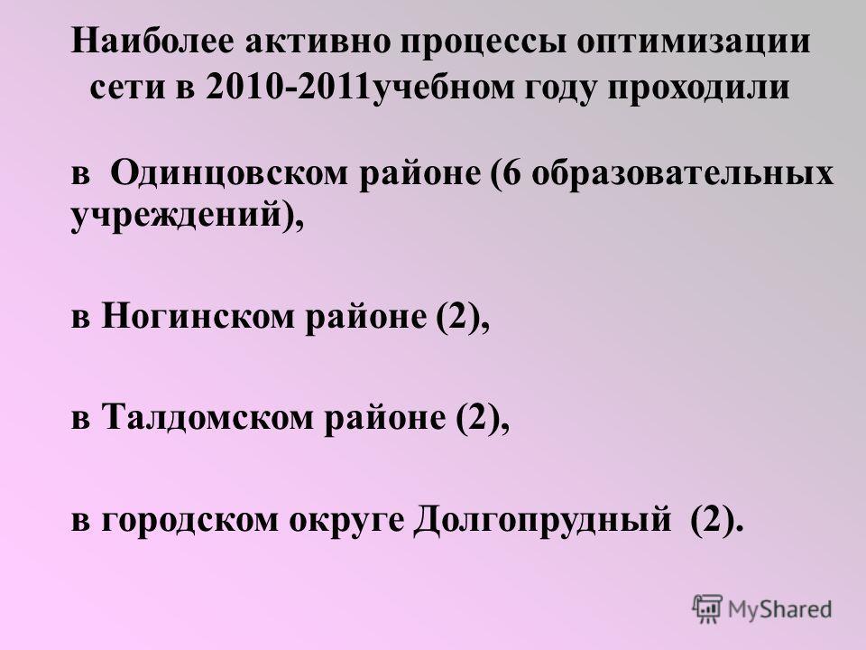 Наиболее активно процессы оптимизации сети в 2010-2011учебном году проходили в Одинцовском районе (6 образовательных учреждений), в Ногинском районе (2), в Талдомском районе (2), в городском округе Долгопрудный (2).
