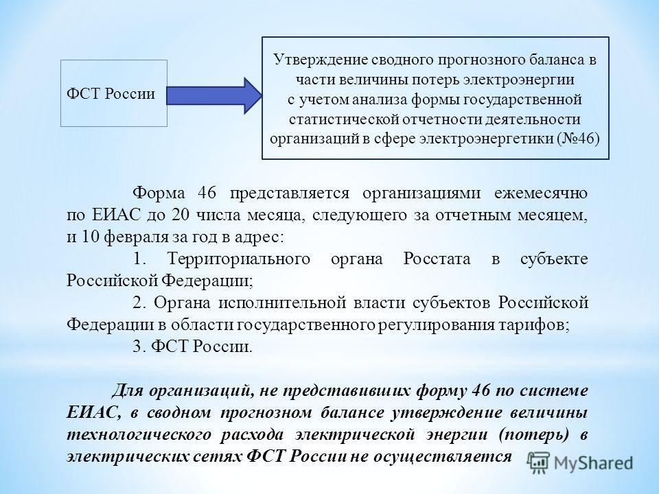 Форма 46 представляется организациями ежемесячно по ЕИАС до 20 числа месяца, следующего за отчетным месяцем, и 10 февраля за год в адрес: 1. Территориального органа Росстата в субъекте Российской Федерации; 2. Органа исполнительной власти субъектов Р