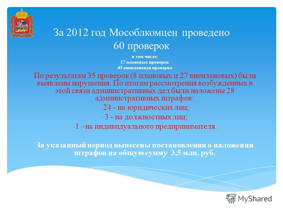За 2012 год Мособлкомцен проведено 60 проверок в том числе: 17 плановых проверок 43 внеплановая проверка По результатам 35 проверок (8 плановых и 27 внеплановых) были выявлены нарушения. По итогам рассмотрения возбужденных в этой связи административн