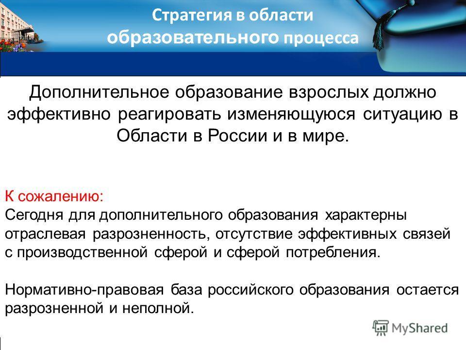 Стратегия в области образовательного процесса Дополнительное образование взрослых должно эффективно реагировать изменяющуюся ситуацию в Области в России и в мире. К сожалению: Сегодня для дополнительного образования характерны отраслевая разрозненнос