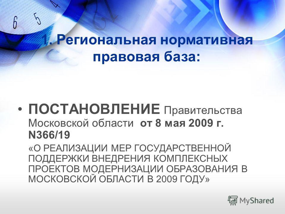 ПОСТАНОВЛЕНИЕ Правительства Московской области от 8 мая 2009 г. N366/19 «О РЕАЛИЗАЦИИ МЕР ГОСУДАРСТВЕННОЙ ПОДДЕРЖКИ ВНЕДРЕНИЯ КОМПЛЕКСНЫХ ПРОЕКТОВ МОДЕРНИЗАЦИИ ОБРАЗОВАНИЯ В МОСКОВСКОЙ ОБЛАСТИ В 2009 ГОДУ» 1. Региональная нормативная правовая база: