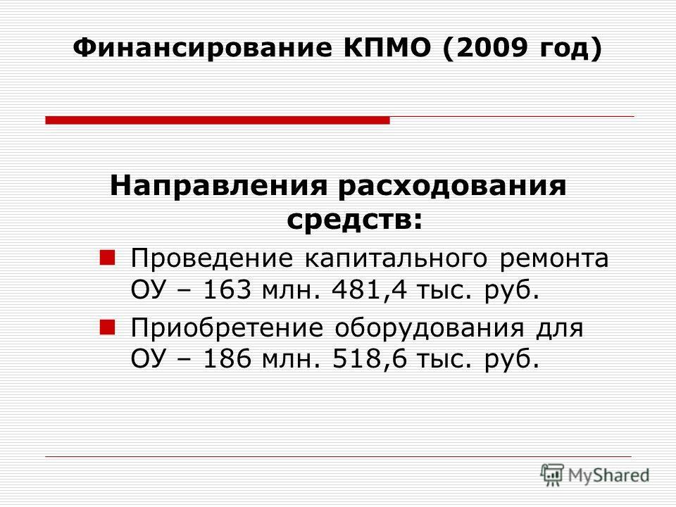Направления расходования средств: Проведение капитального ремонта ОУ – 163 млн. 481,4 тыс. руб. Приобретение оборудования для ОУ – 186 млн. 518,6 тыс. руб. Финансирование КПМО (2009 год)