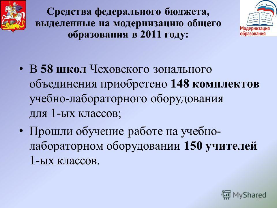 14 Средства федерального бюджета, выделенные на модернизацию общего образования в 2011 году: В 58 школ Чеховского зонального объединения приобретено 148 комплектов учебно-лабораторного оборудования для 1-ых классов; Прошли обучение работе на учебно-