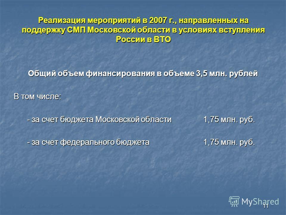 11 Общий объем финансирования в объеме 3,5 млн. рублей В том числе: - за счет бюджета Московской области 1,75 млн. руб. - за счет бюджета Московской области 1,75 млн. руб. - за счет федерального бюджета 1,75 млн. руб. - за счет федерального бюджета 1