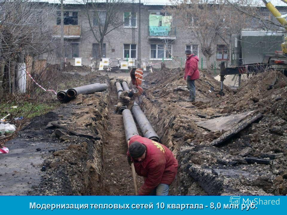 Модернизация тепловых сетей 10 квартала - 8,0 млн руб.