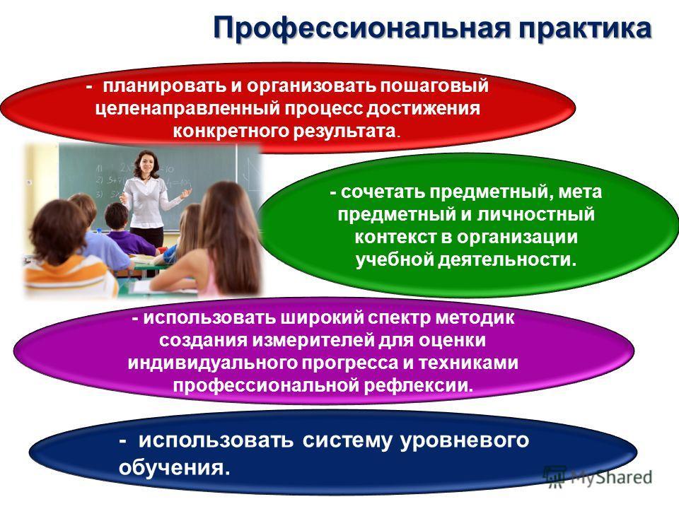 Профессиональная практика - планировать и организовать пошаговый целенаправленный процесс достижения конкретного результата. - сочетать предметный, мета предметный и личностный контекст в организации учебной деятельности. - использовать систему уровн