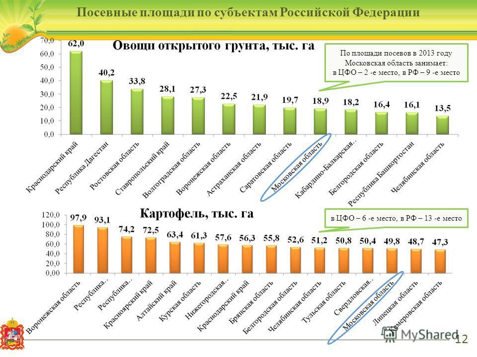 12 По площади посевов в 2013 году Московская область занимает: в ЦФО – 2 -е место, в РФ – 9 -е место в ЦФО – 6 -е место, в РФ – 13 -е место Посевные площади по субъектам Российской Федерации