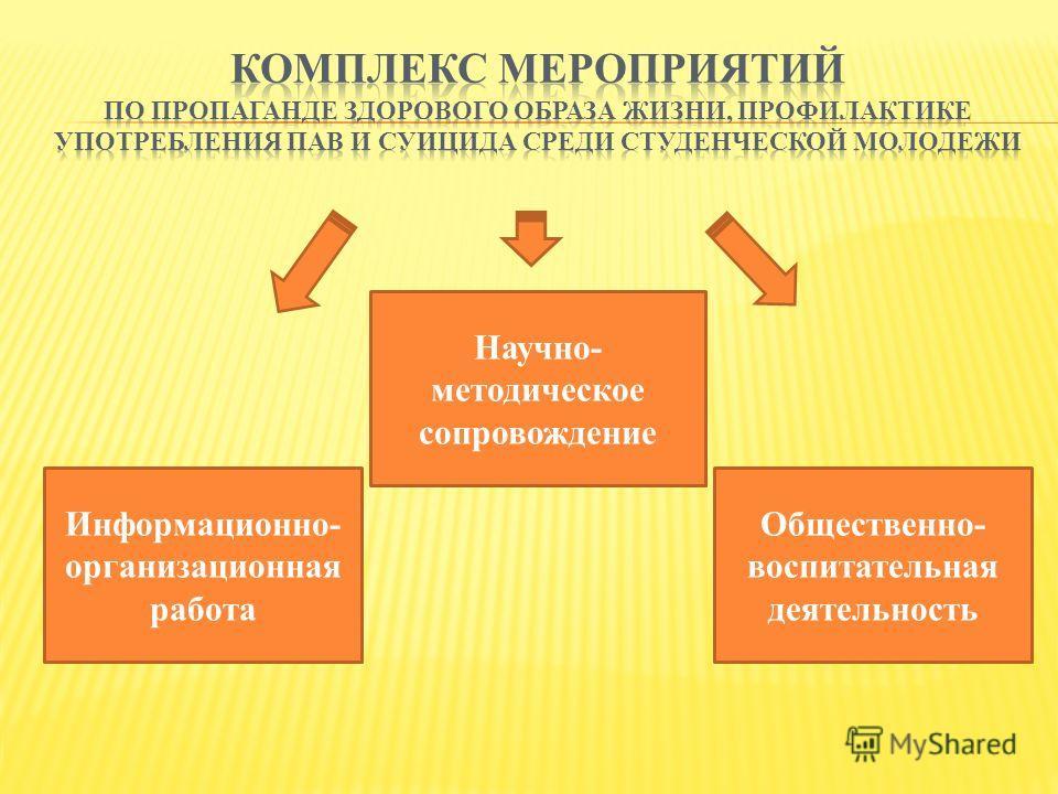 Научно- методическое сопровождение Информационно- организационная работа Общественно- воспитательная деятельность