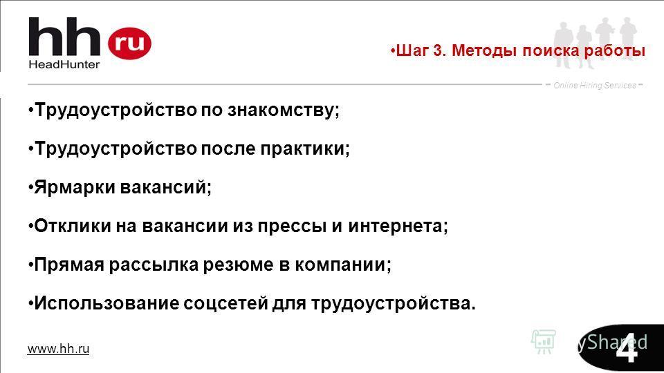 www.hh.ru Online Hiring Services 4 Трудоустройство по знакомству; Трудоустройство после практики; Ярмарки вакансий; Отклики на вакансии из прессы и интернета; Прямая рассылка резюме в компании; Использование соцсетей для трудоустройства. Шаг 3. Метод