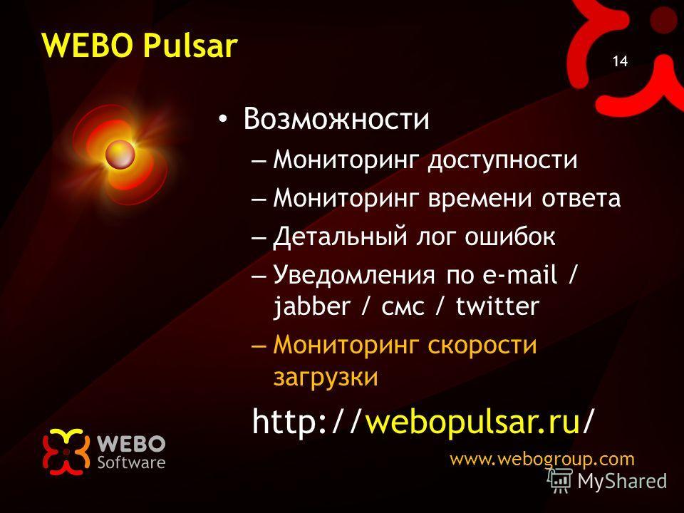 www.webogroup.com 14 WEBO Pulsar Возможности – Мониторинг доступности – Мониторинг времени ответа – Детальный лог ошибок – Уведомления по e-mail / jabber / смс / twitter – Мониторинг скорости загрузки http://webopulsar.ru/