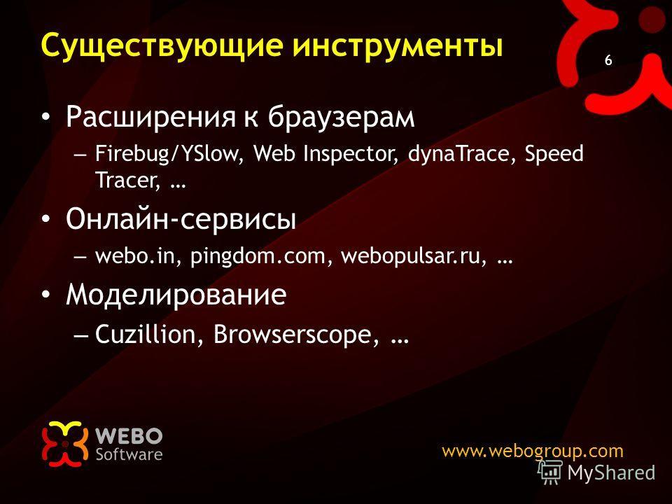 www.webogroup.com 6 Существующие инструменты Расширения к браузерам – Firebug/YSlow, Web Inspector, dynaTrace, Speed Tracer, … Онлайн-сервисы – webo.in, pingdom.com, webopulsar.ru, … Моделирование – Cuzillion, Browserscope, …