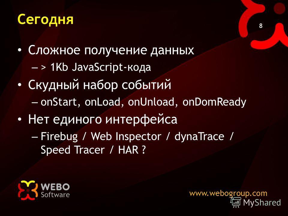 www.webogroup.com 8 Сегодня Сложное получение данных – > 1Kb JavaScript-кода Скудный набор событий – onStart, onLoad, onUnload, onDomReady Нет единого интерфейса – Firebug / Web Inspector / dynaTrace / Speed Tracer / HAR ?