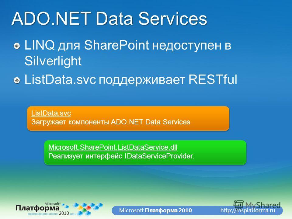 http://msplatforma.ruMicrosoft Платформа 2010 ADO.NET Data Services LINQ для SharePoint недоступен в Silverlight ListData.svc поддерживает RESTful ListData.svc Загружает компоненты ADO.NET Data Services ListData.svc Загружает компоненты ADO.NET Data