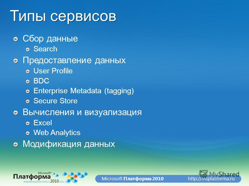 http://msplatforma.ruMicrosoft Платформа 2010 Типы сервисов Сбор данные Search Предоставление данных User Profile BDC Enterprise Metadata (tagging) Secure Store Вычисления и визуализация Excel Web Analytics Модификация данных